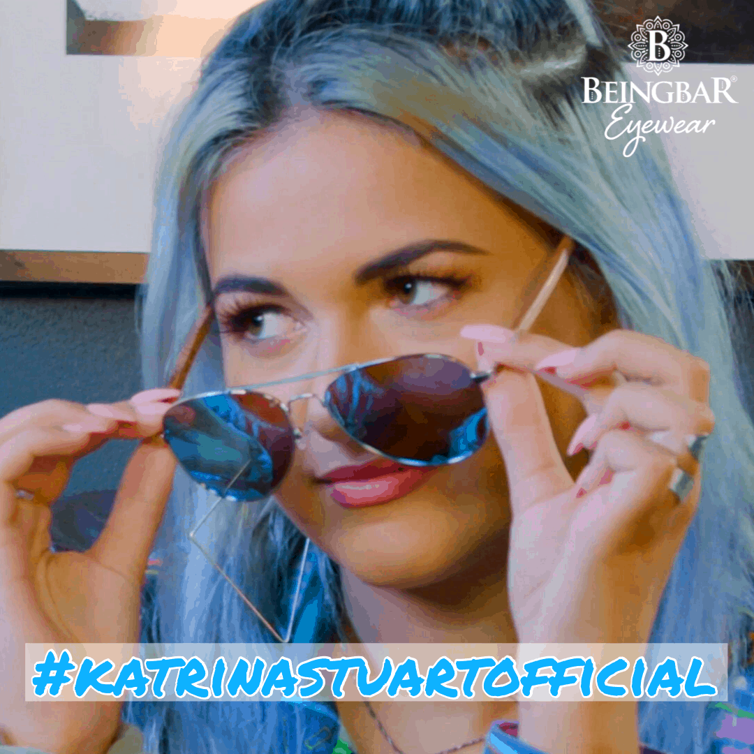 Katrina Stuart wearing BEINGBAR Eyewear. Blue themed Model 1