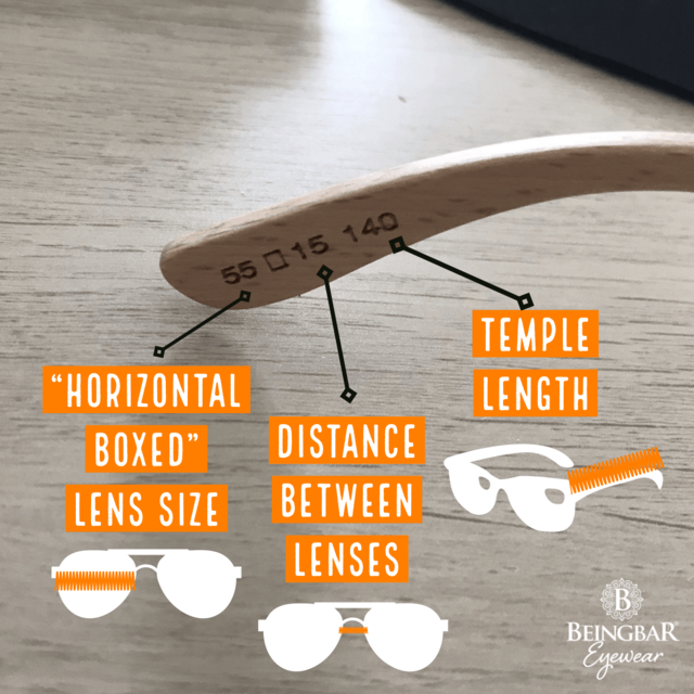 Sunglasses and eyewear printed sizes explained