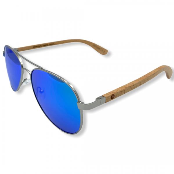 Beingbar Sun Eyewear BNGBR_AVT_200258 Flame Bamboo Turqoise Polarized Sunglasses-2