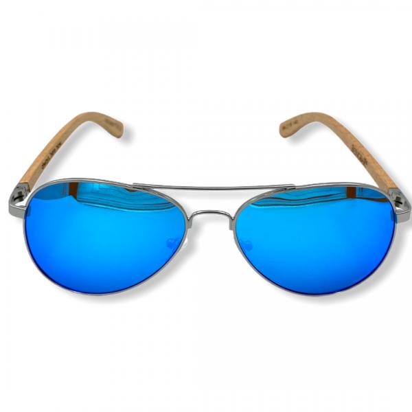 Beingbar Sun Eyewear BNGBR_AVT_200267 Flame Bamboo Bright Blue Polarized Sunglasses-1
